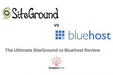 SiteGround vs Bluehost Review with company logos