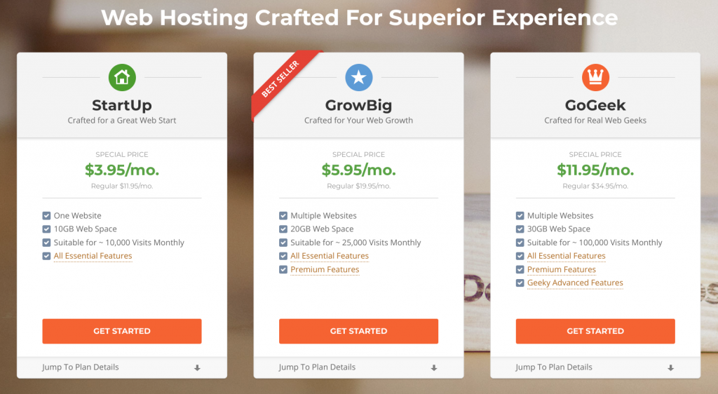 SiteGround vs Bluehost - Siteground Pricing