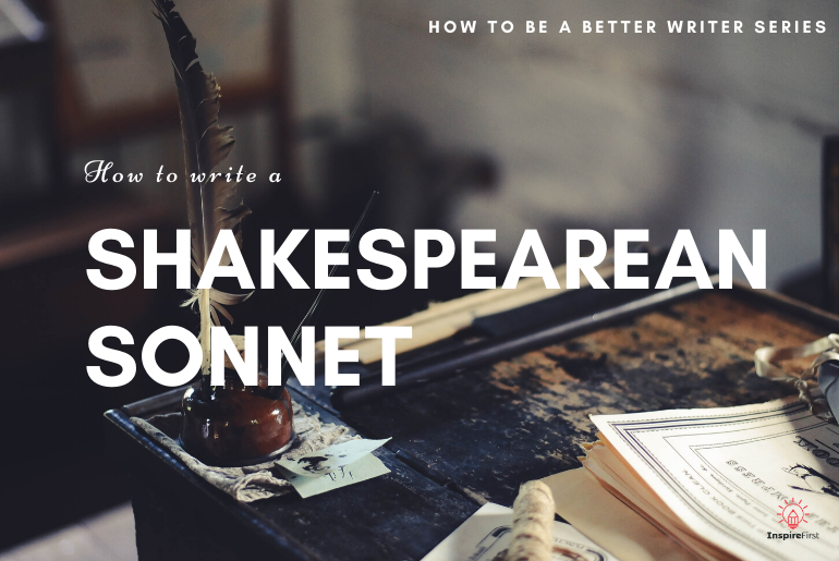 feather and ink on a desk - how to write a Shakespearean sonnet