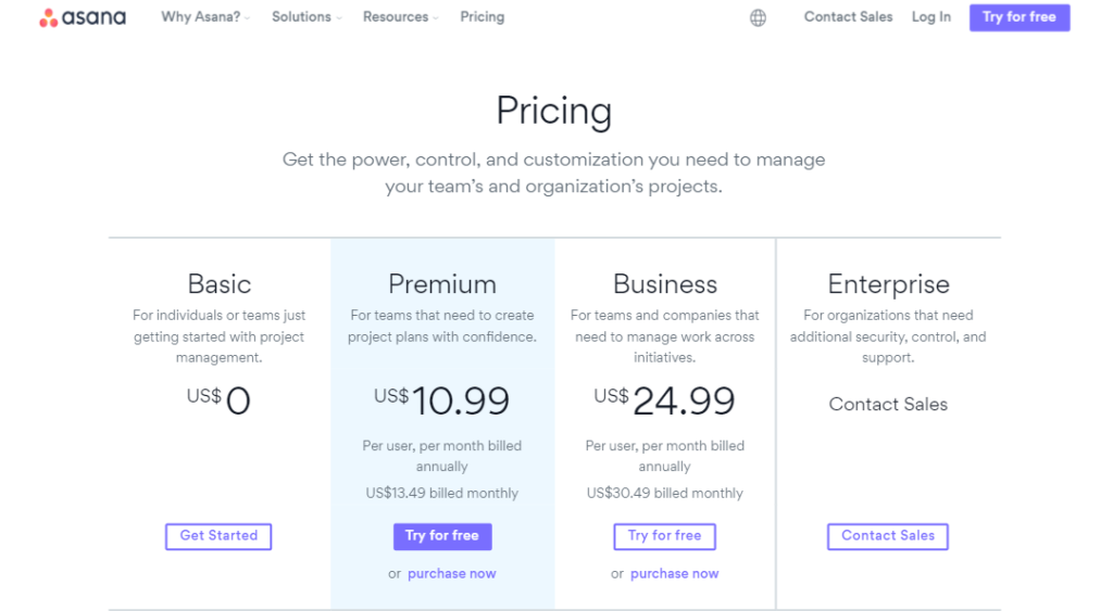 pricing - Asana project management