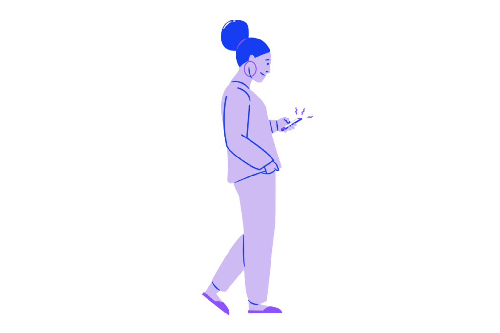 woman walking with a cellphone - audio marketing