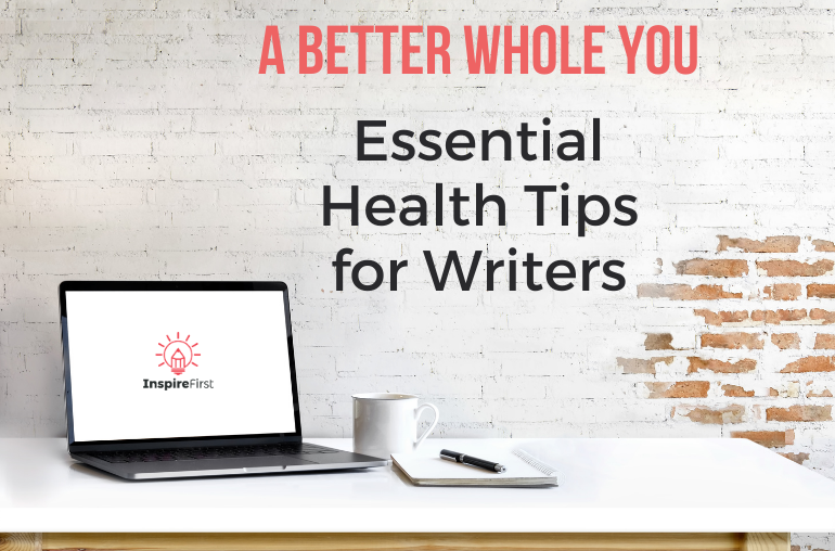 health tips for writers, picture of laptop on table