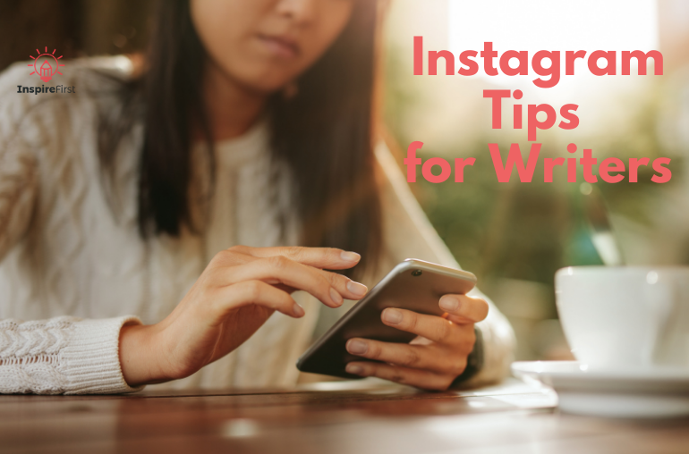 writers on instagram, woman on phone at table