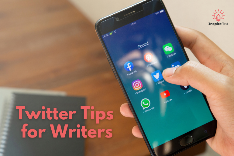 writers on twitter, phone with twitter app