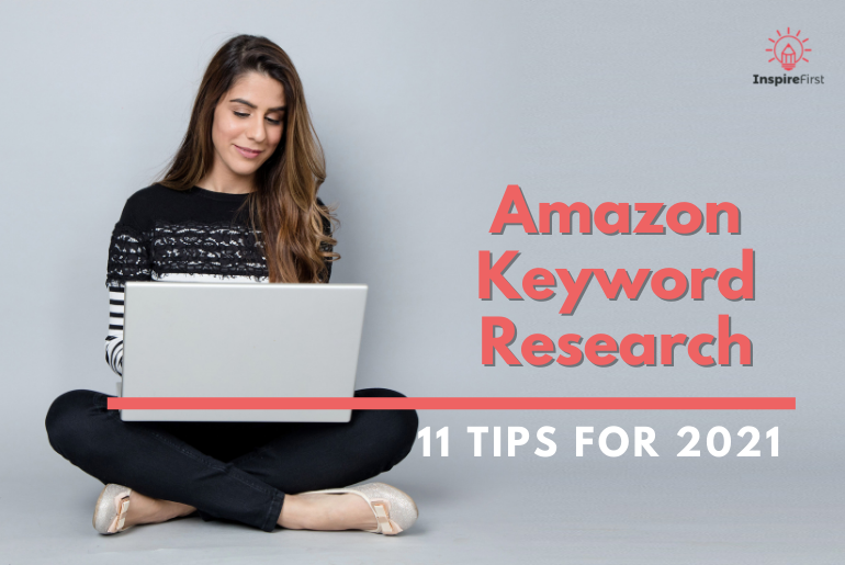 how to find good keywords for amazon, woman on laptop