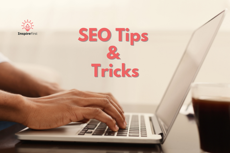 SEO tips and tricks, hands on laptop
