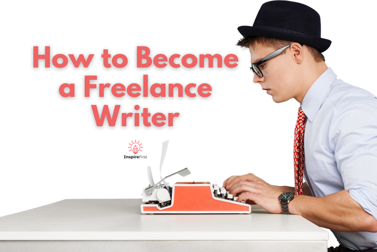 how to become a freelance writer, young man with typewriter