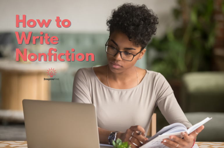 how to write a nonfiction book, woman working at desk