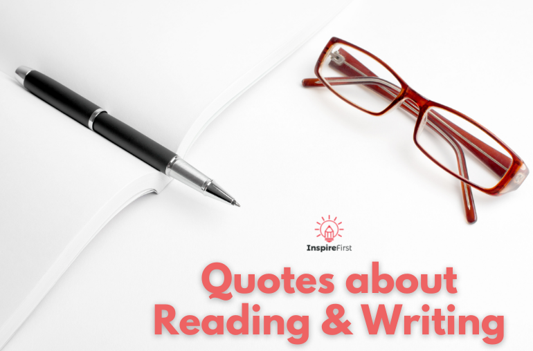 quotes about reading and writing, pen and glasses