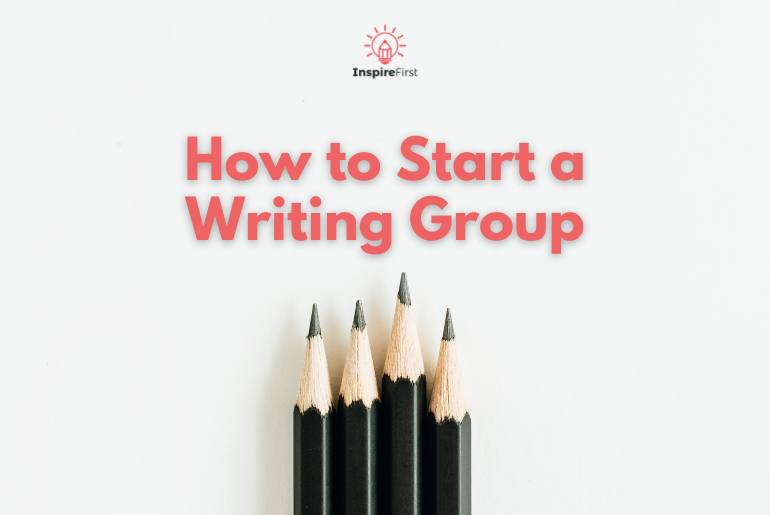How to Start a Writing Group: a Guide for Writers and Bloggers, four pencils on a white background