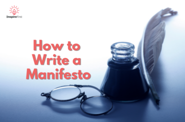 how to write a manifesto, glasses, ink pot and quill