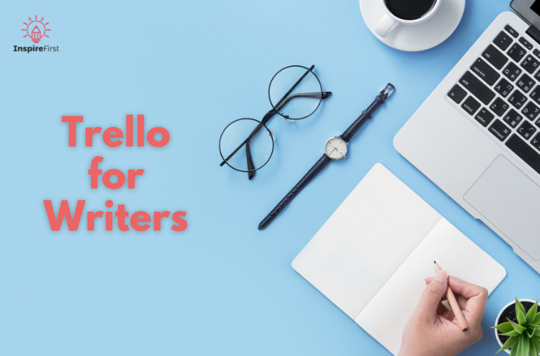 trello for writers, blue background with desk