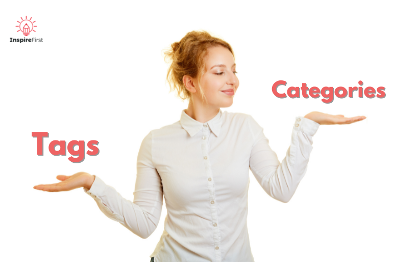 woman holding categories vs. tags in her hands