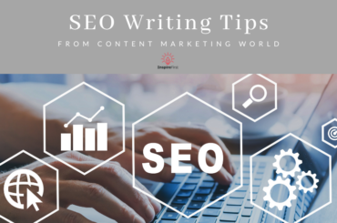 SEO content writing tips, hands on laptop